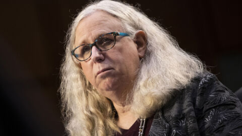 Dr. Rachel Levine is sworn in as the nation's first transgender four-star officer