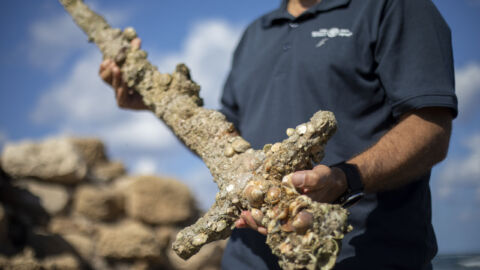 An Israeli scuba diver discovered a sword that likely belonged to a Crusader knight
