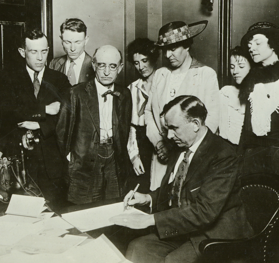 The Governor of Tennessee, Albert Roberts, signs the state ratification of the 19th amendment. Photo courtesy of Pretzel Pictures.