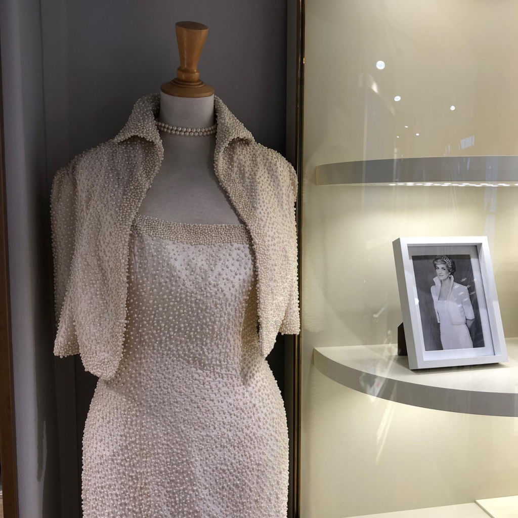 Replica of a pearled dress worn by Diana, Princess of Wales, at Jersey Pearl in Windsor.