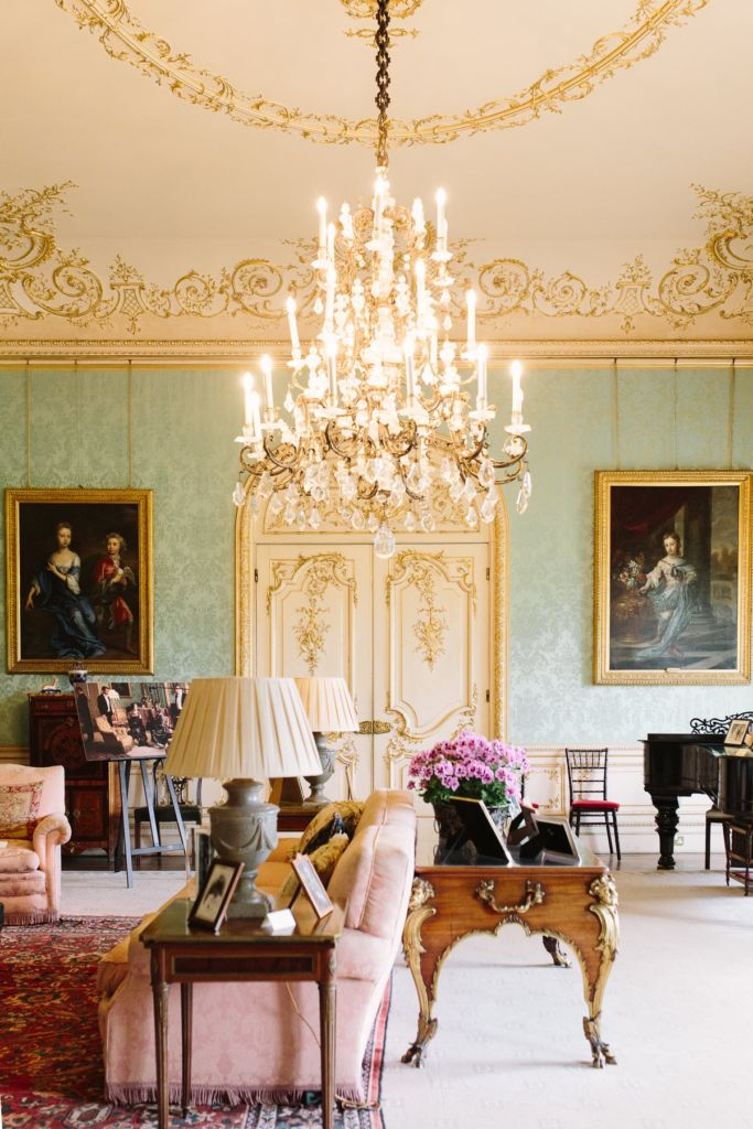 The Highclere  Castle drawing room with silk wall coverings (Cora's room on Downton Abbey).