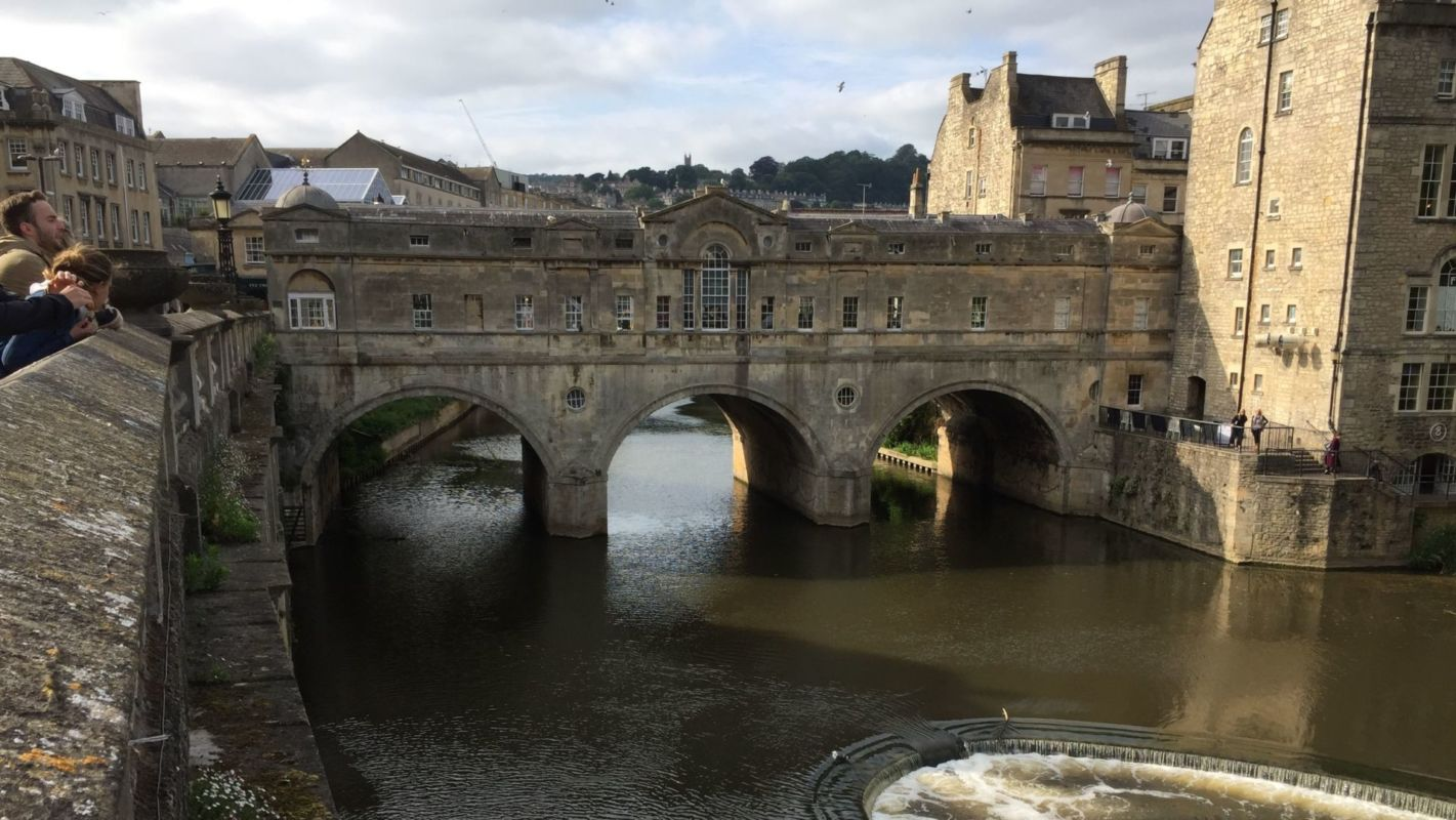 The World Heritage city of Bath and its Pulteney Bridge across the River Avon, completed in 1774.
