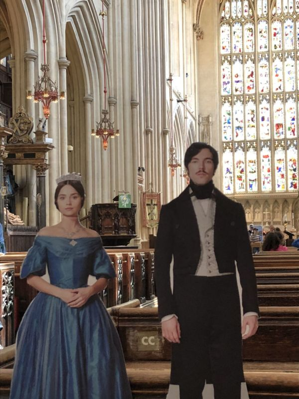 Our WLIW cut outs of Queen Victoria and Prince Albert in Bath Abbey