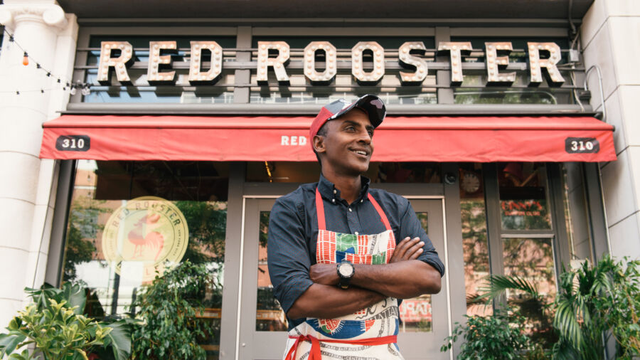 Marcus Samuelsson in front of his restaurant Red Rooster Harlem in New York City.