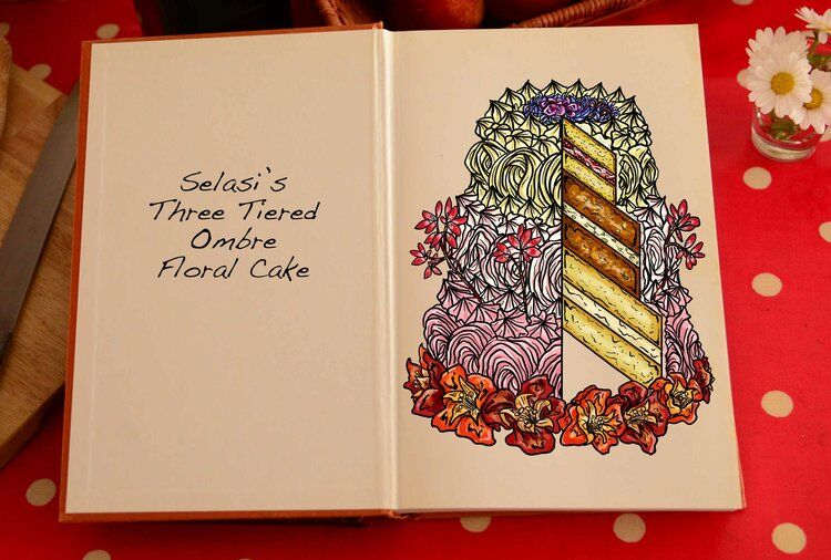 Selasi's Three-Tiered Ombre Floral Cake. Drawn by Tom Hovey.