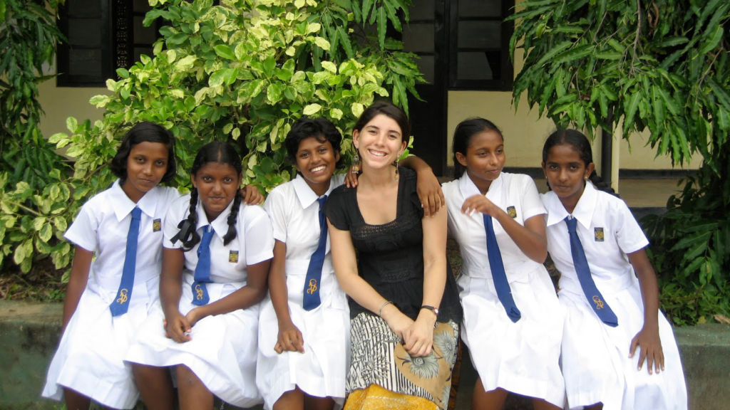 English Teaching Assistant Jess Vaughn with students in Sri Lanka, 2010.